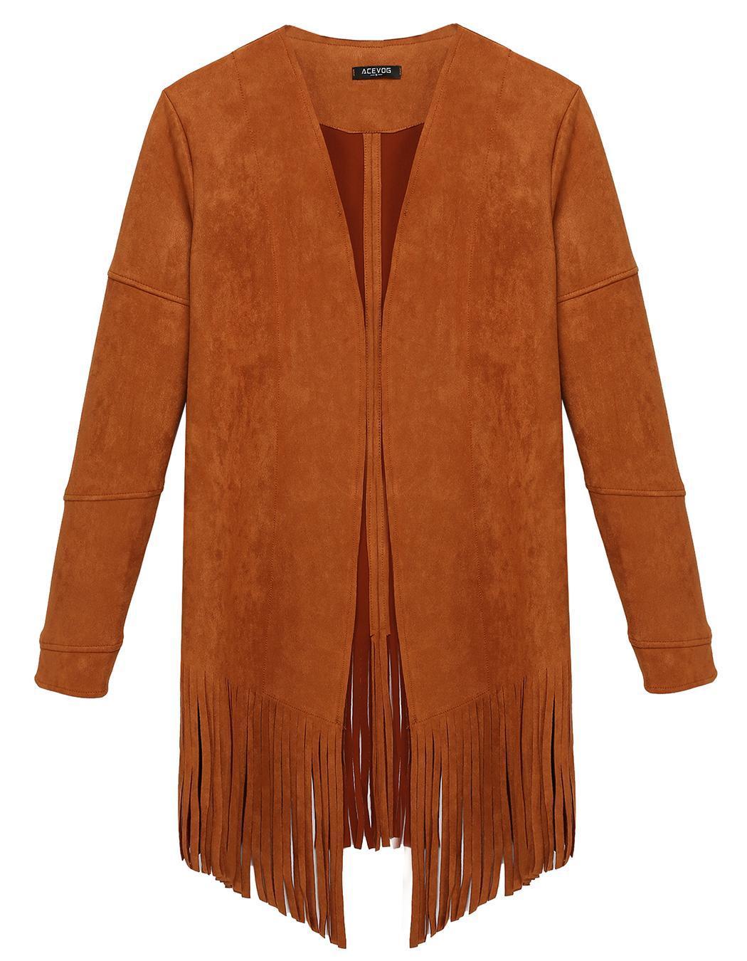 Women Casual Cardigan Long Sleeve Solid Tassel Long Coat 3