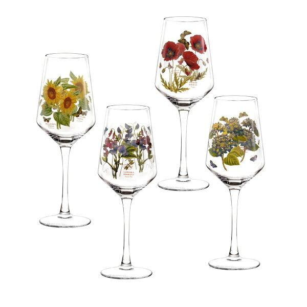 英國Portmeirion植物園4入450ml玻璃高腳杯禮盒組