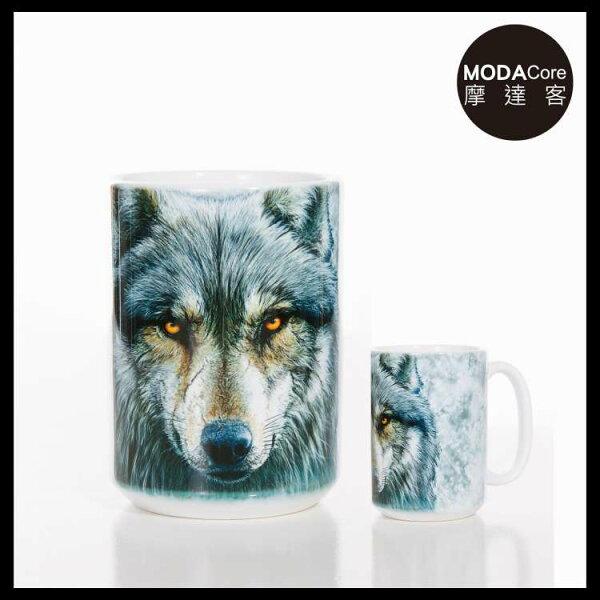【摩達客】(預購)美國TheMountain勇戰之狼圖案設計藝術馬克杯440ml