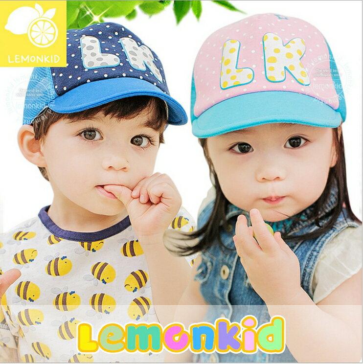 Lemonkid◆可愛時尚LK字母點點兒童運動休閒透氣網帽