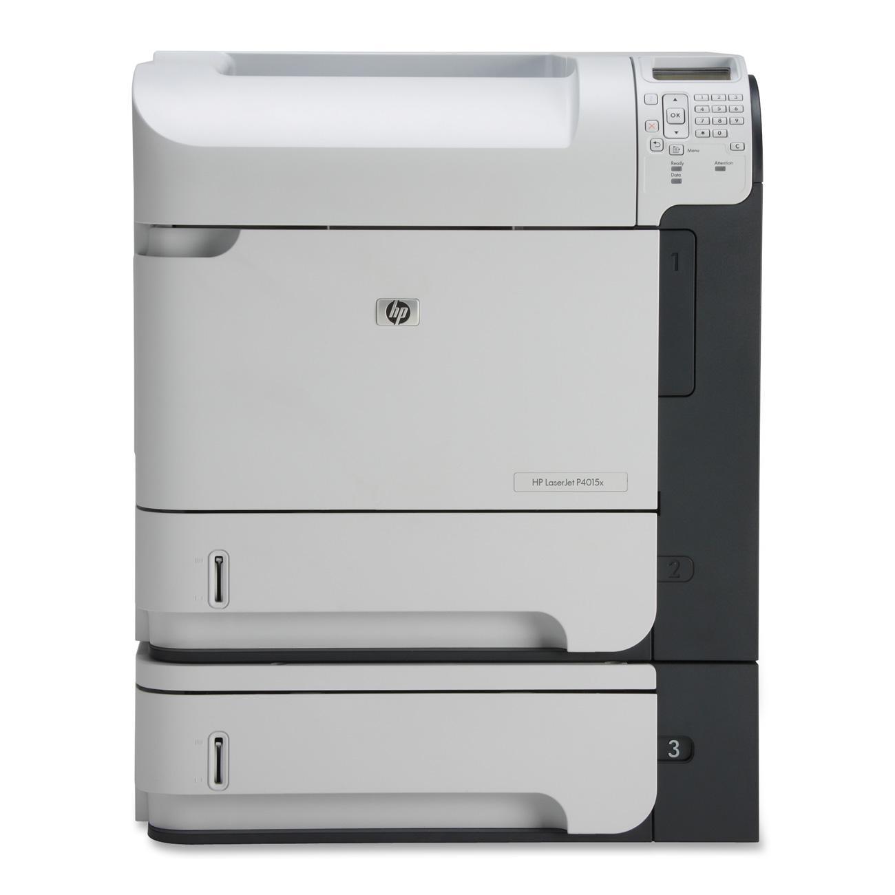 HP LaserJet P4015X Laser Printer - Monochrome - 1200 x 1200 dpi Print - Plain Paper Print - Desktop - 52 ppm Mono Print - Letter, Legal, Executive, Statement, Com10 Envelope, Monarch Envelope, Custom Size - 1100 sheets Standard Input Capacity - 225000 Dut 0