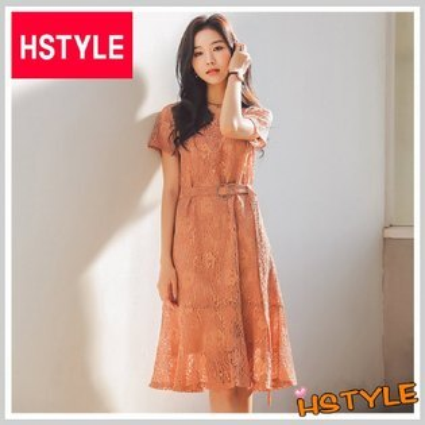 連身裙兩件式優雅蕾絲短袖洋裝LZ7680-創翊韓都
