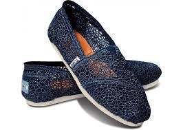 TOMS  Navy Crochet  女 藍色蕾絲平底鞋 現貨+預購