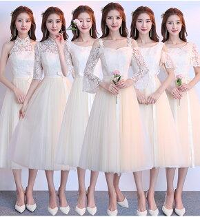 天使嫁衣【BL329B】香檳(偏黃)色6款蕾絲花網收腰澎感中長款禮服˙預購訂製款