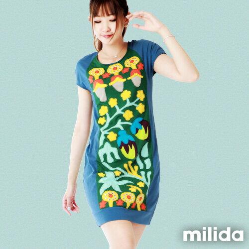 【Milida,全店七折免運】-夏季商品-拼貼款-氣質花卉圖騰 0