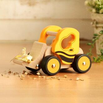 樂兒學 兒童模型車木製學習積木-推土機(黃)(MT0463Y)
