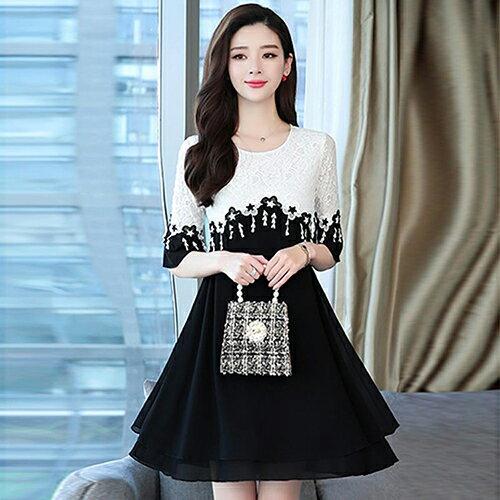 蕾絲拼接花邊黑白修身大擺連身裙(2色L~5XL)【OREAD】 0