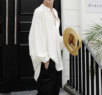 FINDSENSE Z1 韓國 時尚 潮 男 寬鬆大尺碼 立領 純色 素面 長袖襯衫 特色襯衫