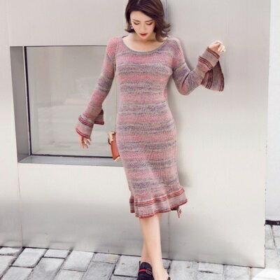 連身裙長袖洋裝-秋冬混色條紋針織女連衣裙73pu56【獨家進口】【米蘭精品】