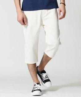七分錐形褲WHITE