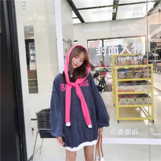 50%OFF SHOP韓版chic字母中長款燈籠袖燈芯絨衛衣連衣裙+披肩【DP033220C】