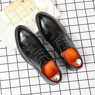 皮鞋 男 律皮質】休閒皮鞋男新款皮質男士商務正裝皮鞋韓版理髮師結婚鞋子【xy3607】