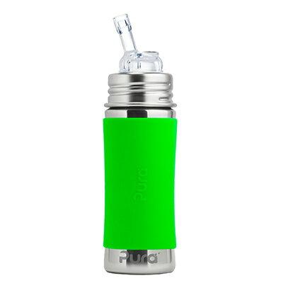 美國Pura 不鏽鋼環保成長瓶 325ml 幼童吸管杯 (森林綠) 附保護套【悅兒園婦幼生活館】