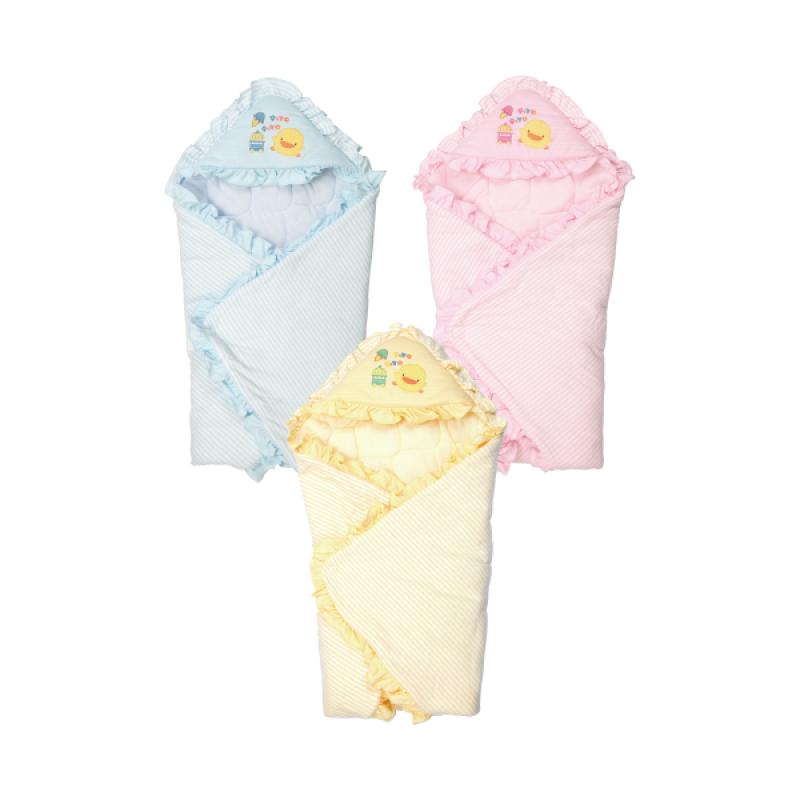 【黃色小鴨】橫條冬季包巾(藍/粉)