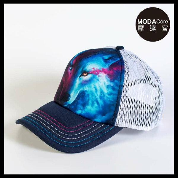 【摩達客】(預購)美國進口TheMountain光影陰陽狼藝術棒球帽網帽5-Panel新五分割帽