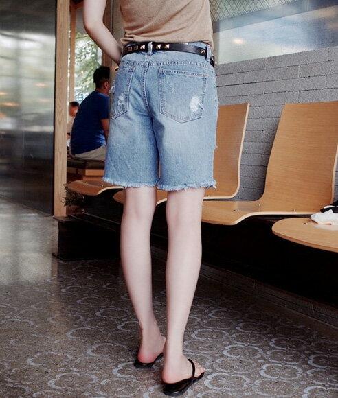 韓版五分褲牛仔褲 百搭修身刷破五分牛仔短褲 艾爾莎【TAK2586】 1