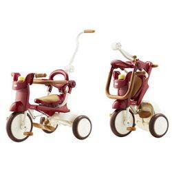 【日本iimo*加贈寶兒防曬乳】【升級款】日本iimo #02兒童三輪車(折疊款-紅色)【紫貝殼】