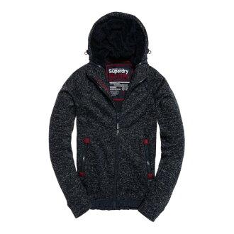 美國百分百【全新真品】Superdry 極度乾燥 連帽 外套 防風 夾克 針織 刷毛 深靛藍砂礫 有大尺碼 H815
