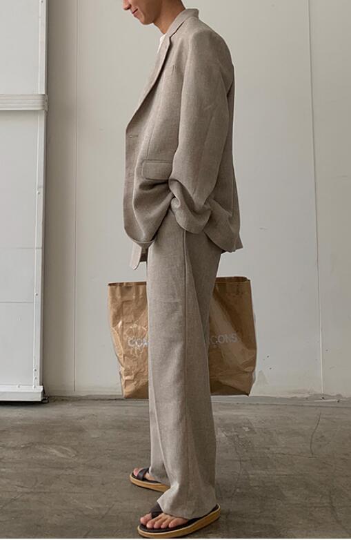 FINDSENSE X  復古時尚寬松休閑舒適百搭棉麻西裝套裝