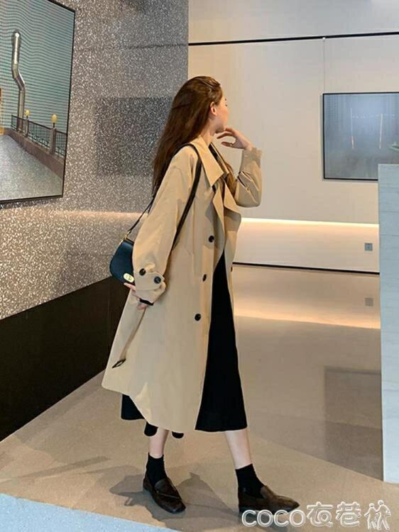 風衣外套 秋季黑色英倫風中長款外套大衣女2021新款寬鬆韓版氣質小個子風衣【居家家】
