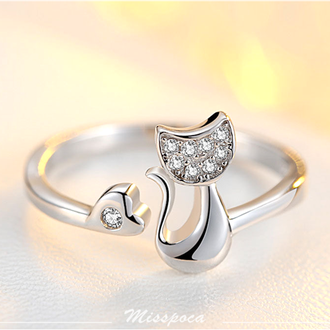 《波卡小姐》鑲鑽貓咪戒指 S925純銀抗過敏 開口可調節 日韓女神氣質款 貓奴平價飾品 創意生日禮物