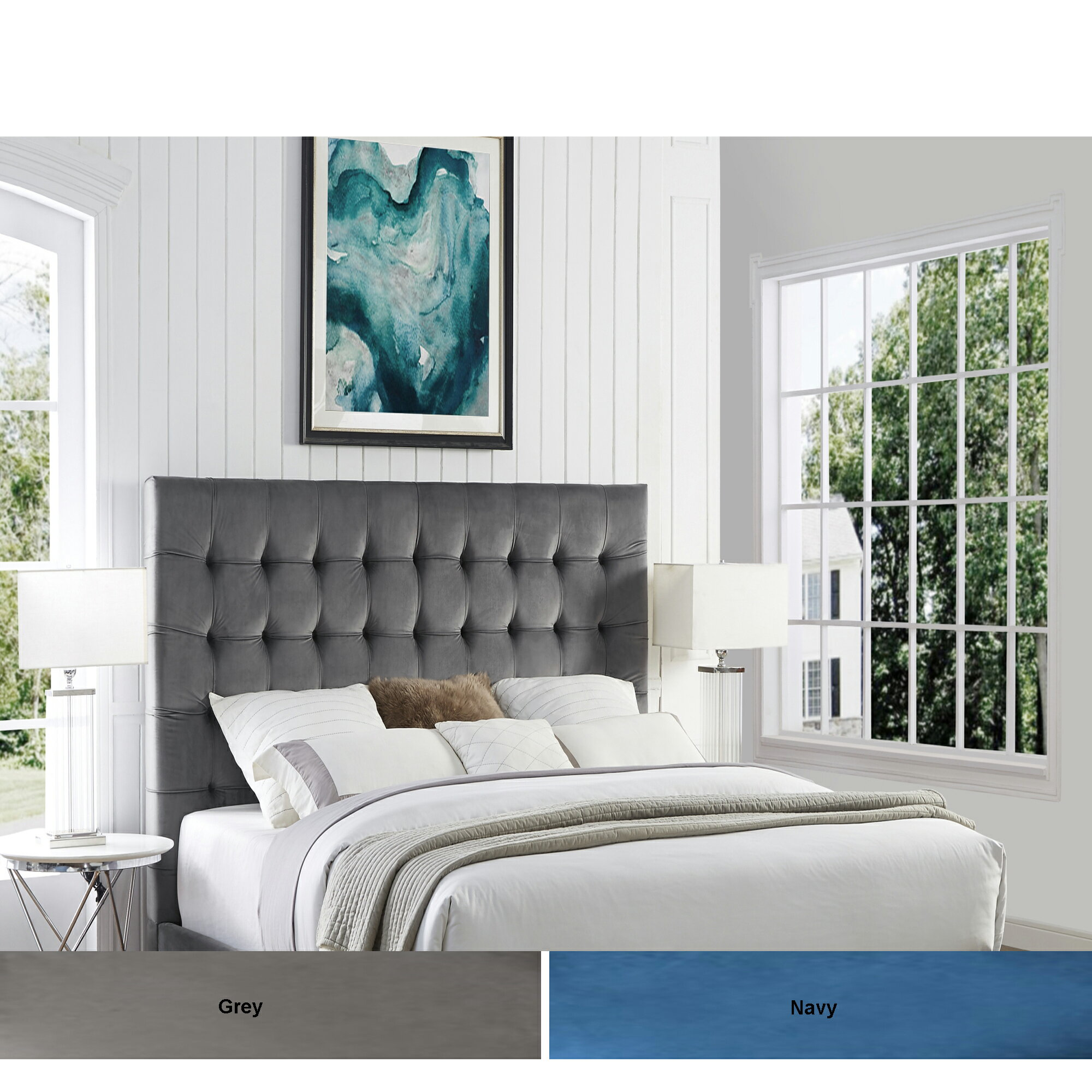 Georges Velvet Or Linen Tufted Headboard Queen Or King Size Upholstered Modern And Contemporary Inspired Home
