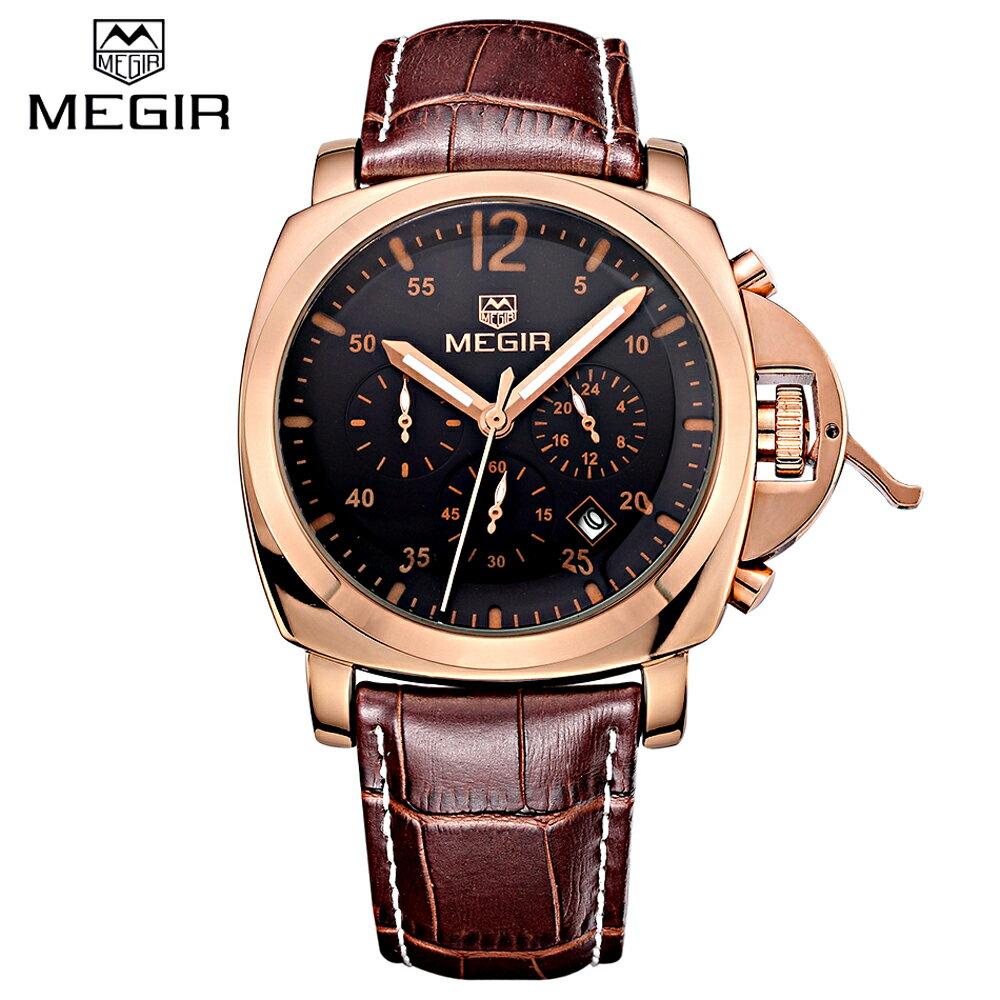 MEGIR 美格爾 3006 時尚真三眼多功能石英防水運動錶 - 玫框黑面 - 限時優惠好康折扣