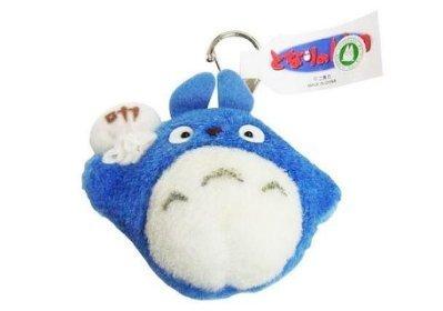 經典絨毛鎖圈 中藍龍貓 背袋 龍貓totoro 宮崎駿 吉卜力 鎖圈 鑰匙圈 掛飾 吊飾 娃娃 玩偶  4974475635431 真愛日本