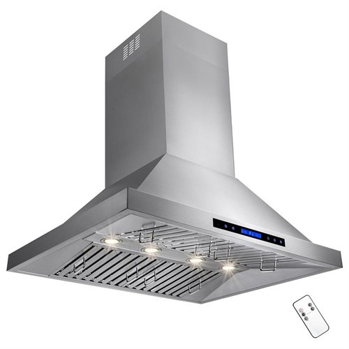 "36"" Stainless Steel Wall Mount Range Hood Touch Control Halogen Light Lamp Baffle Filter 1"