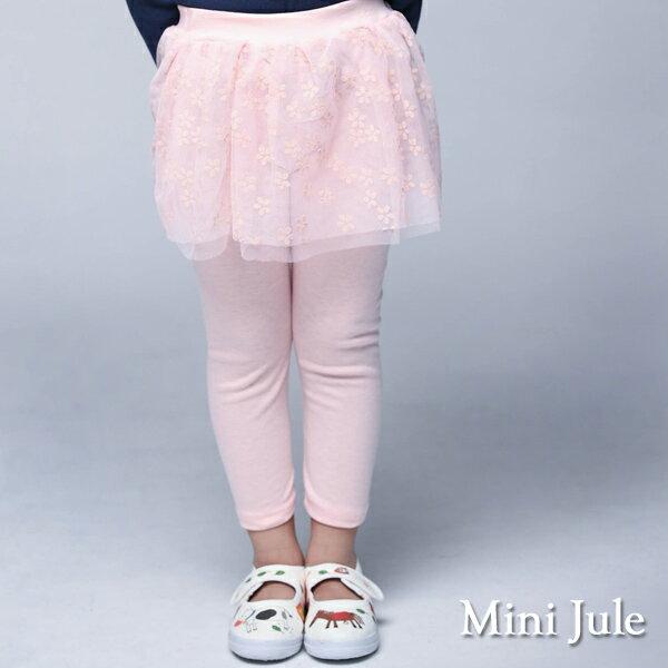 Azio Kids美國派:《MiniJule童裝》內搭褲裙小花網紗內搭長褲裙(粉)