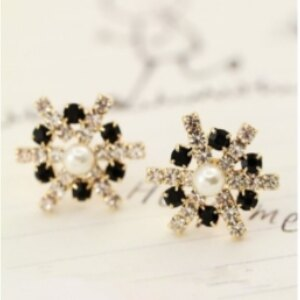 美麗大街【GE0342】黑白水晶鑽石鋯石黑白雪花耳環耳釘