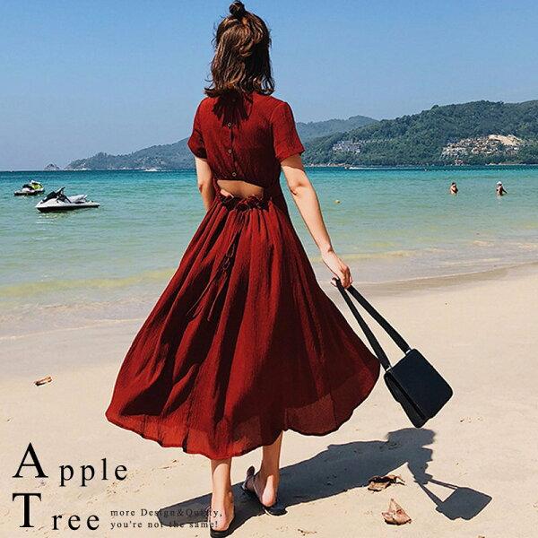 AT日韓-韓國,後腰開口短袖洋裝2色【803056】