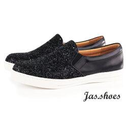 JASSHOES【JC0200】英國進口亮片布 羊皮 套入式 懶人鞋 平底鞋 休閒鞋 共3色-Black低調黑