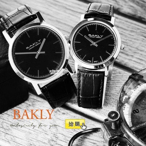 【完全計時】手錶館│BAKLY 都會時尚簡約對錶 BAS6106 全黑 瑞士機芯/水晶鏡面對錶(大款)