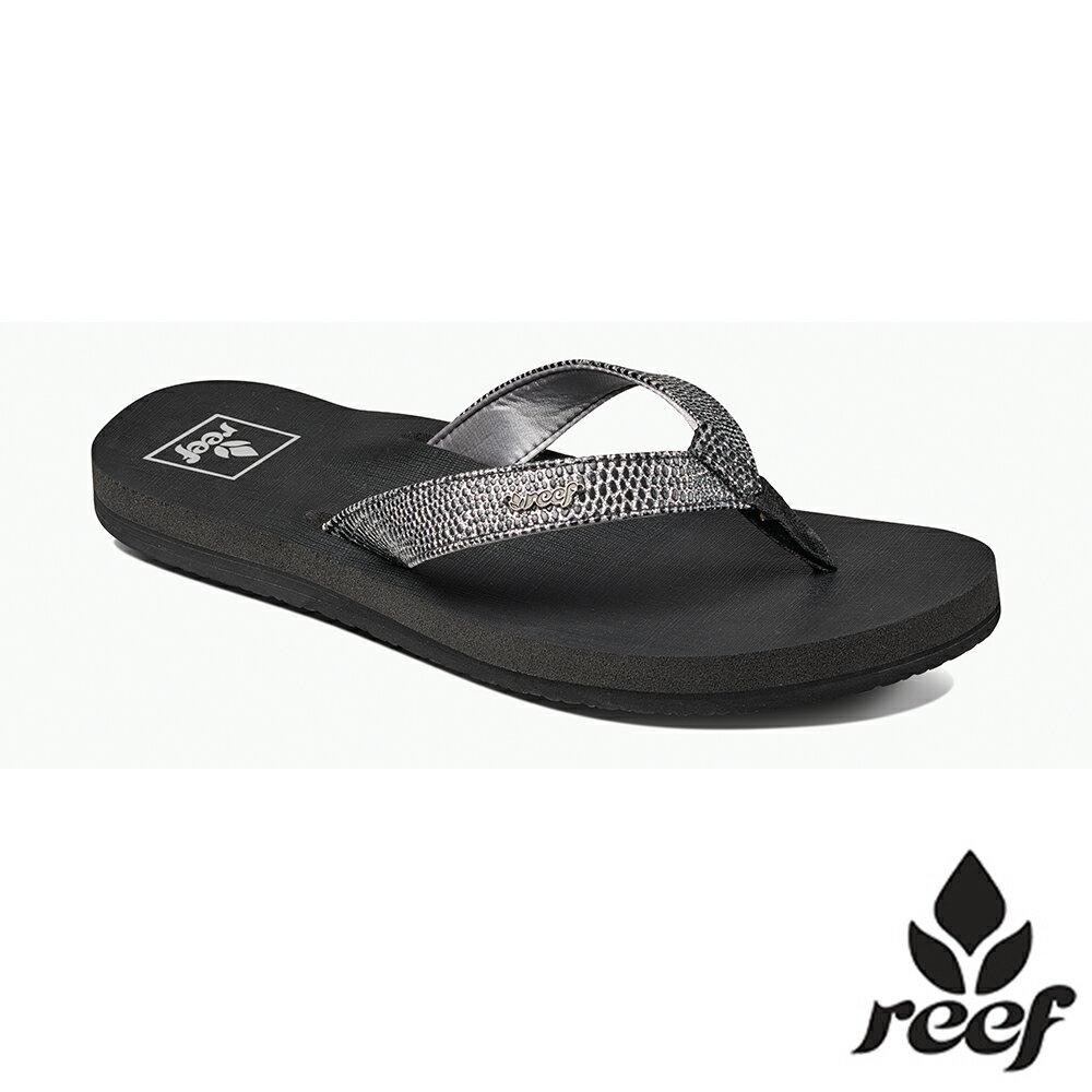 REEF 新軟Q系列 印花亮粉織帶 人體工學鞋床 女款夾腳拖 人字拖鞋 . 黑 / 銀 RF001384BLS - 限時優惠好康折扣