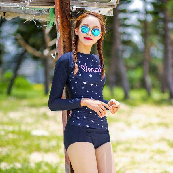 PS Mall 韓國游泳衣 女分體平角2件套潛水服長袖防曬比基尼泳裝 浮淺潛水衝浪衣 ~E