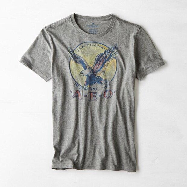 美國百分百【American Eagle】T恤 AE 短袖 上衣 T-shirt 老鷹 XS S號 灰色 男 F259