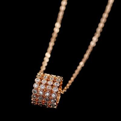 ~純銀項鍊 鍍18K金鑲鑽吊墜~精緻氣質高貴情人節生日 女飾品73dn65~ ~~米蘭 ~