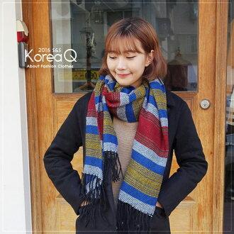 圍巾 韓系彩色條紋流蘇披肩圍巾(預+現) Korea Q【14100055】