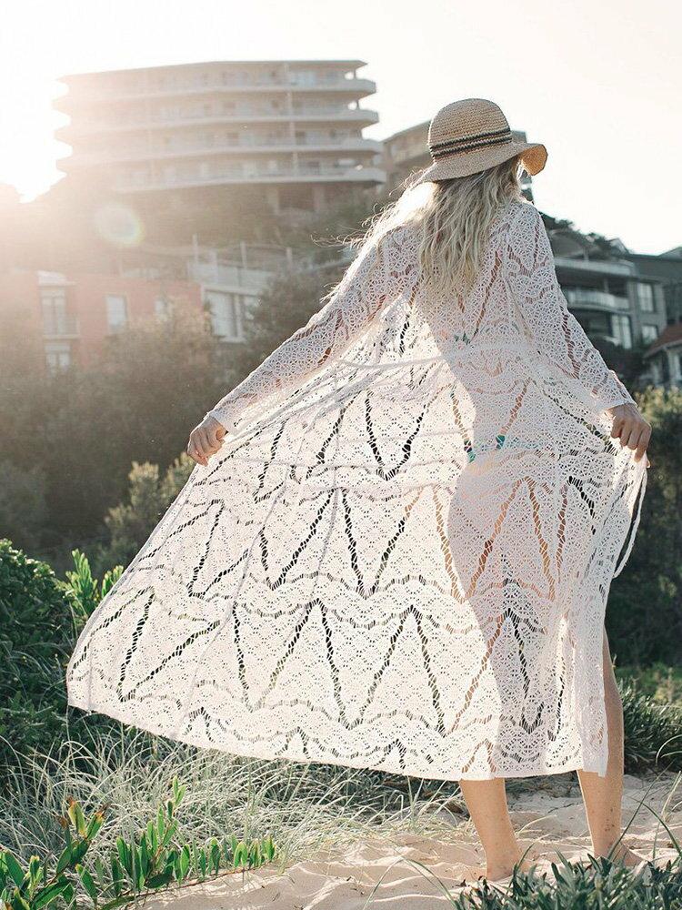 罩衫 鏤空 針織 綁帶 開襟 外套 長款 沙灘 比基尼 罩衫【ZS360】 BOBI  04 / 26 3