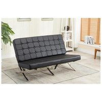 Mcombo Balcony Barcelona Style Modern Lounge Chair Soft Leather Black 7107