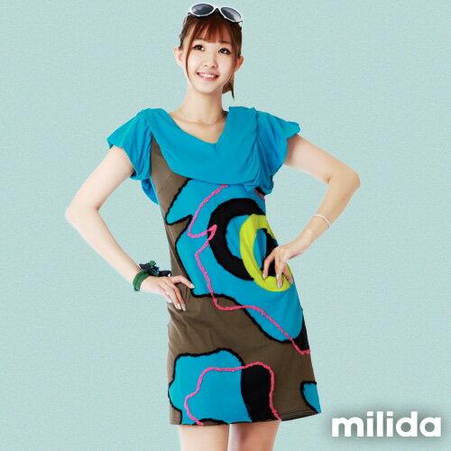 【Milida,全店七折免運】-夏季商品-V領款-氣質拼貼設計 0