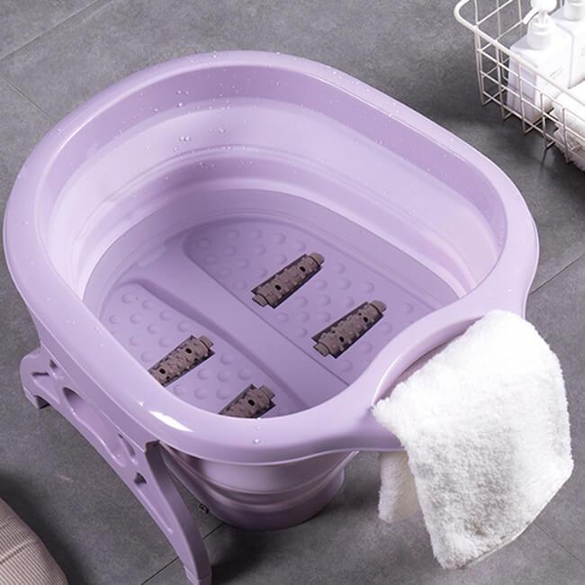 【LILS】折疊式SPA滾輪泡腳桶 可折疊收納 不佔空間 出國露營SPA滾輪泡腳桶 【送泡腳包一包】 6