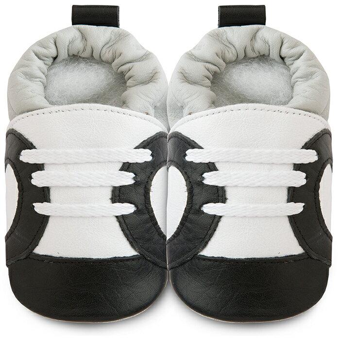 【hella 媽咪寶貝】英國 shooshoos 健康無毒真皮手工學步鞋/嬰兒鞋 黑白運動型(SS102952)(公司貨)
