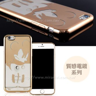 【Disney 】iPhone 6 Plus/6s Plus 時尚質感電鍍系列彩繪保護套-生氣米奇