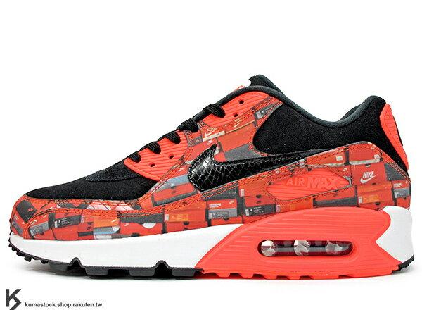 2018限定復刻WELOVENIKELAB企劃AIRMAX90PRINT黑紅鞋盒印刷麂皮氣墊慢跑鞋限量發售atmos(AQ0926-001)0518P