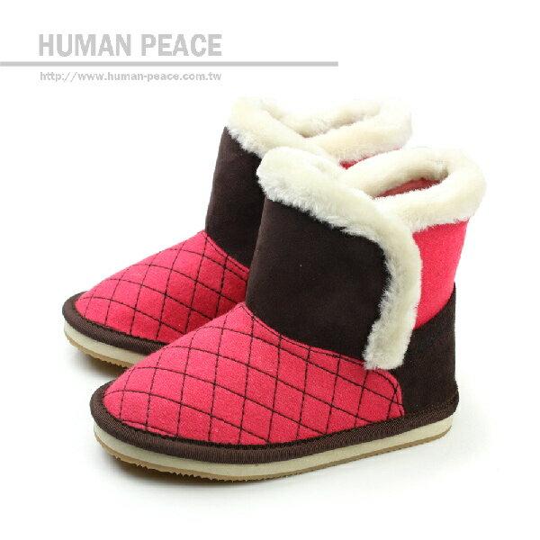 小女生鞋 舒適 保暖 內裡絨毛 魔鬼氈 好穿脫 靴子 雪靴 戶外休閒鞋 咖啡 小童 no4