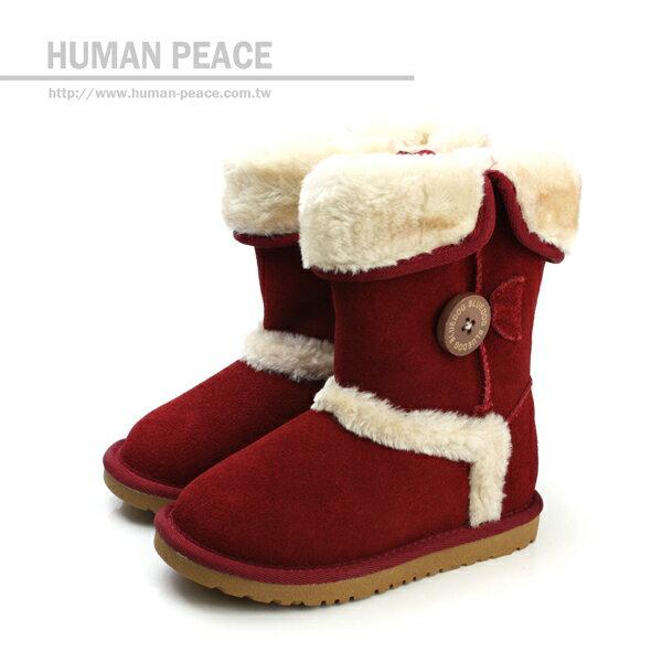 小女生鞋 麂皮 舒適 保暖 靴子 戶外休閒鞋 紅 中童 no058 ~  好康折扣