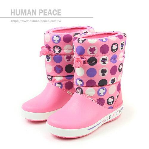 Crocs HELLO KITTY 皮革 舒適 鬆緊舒適 高筒 靴子 戶外休閒鞋 粉 中童 no092