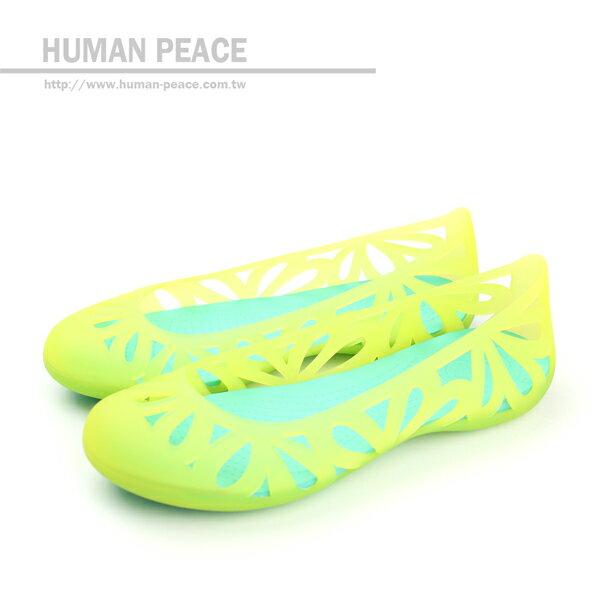 Crocs 舒適 輕巧 阿德端娜花卉平底鞋 戶外休閒鞋 螢光黃 女款 no206